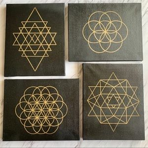 Other - Mandala set of 4 black and gold SMALL